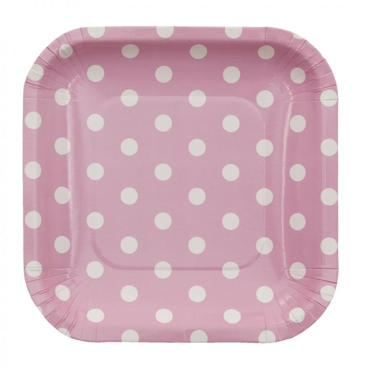 Einwegteller (10 Stück) rosa Punkte weiß ca. 15 x 15 cm