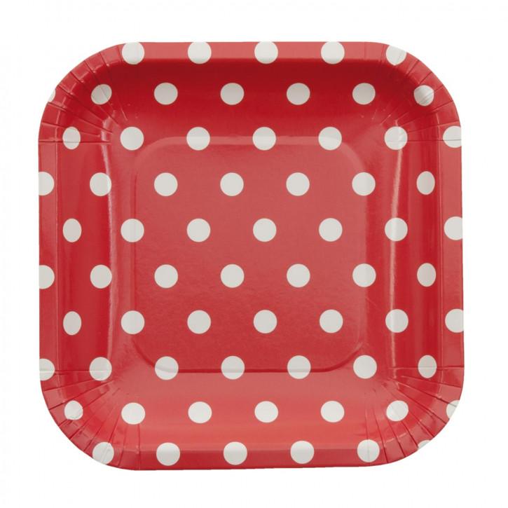 Einwegteller (10 Stück) rot Punkte weiß ca. 15 x 15 cm