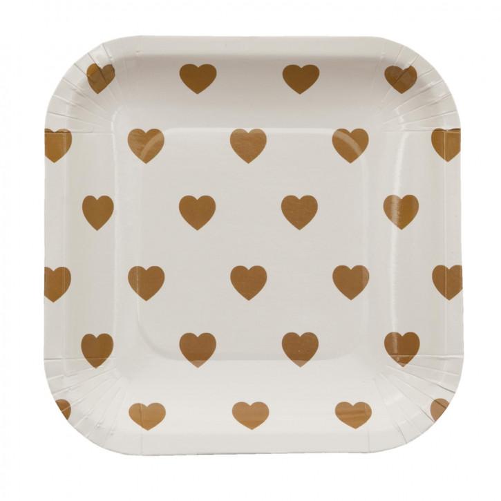 Einwegteller (10 Stück) Herzen goldfarbig ca. 15 x 15 cm