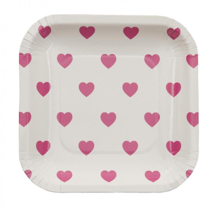 Einwegteller (10 Stück) Herzen rosa ca. 15 x 15 cm