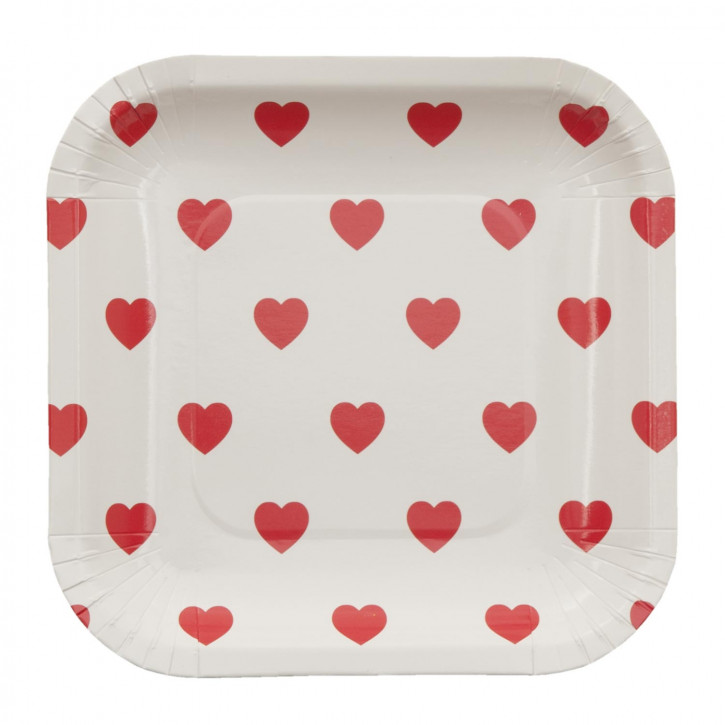 Einwegteller (10 Stück) Herzen rot ca. 15 x 15 cm