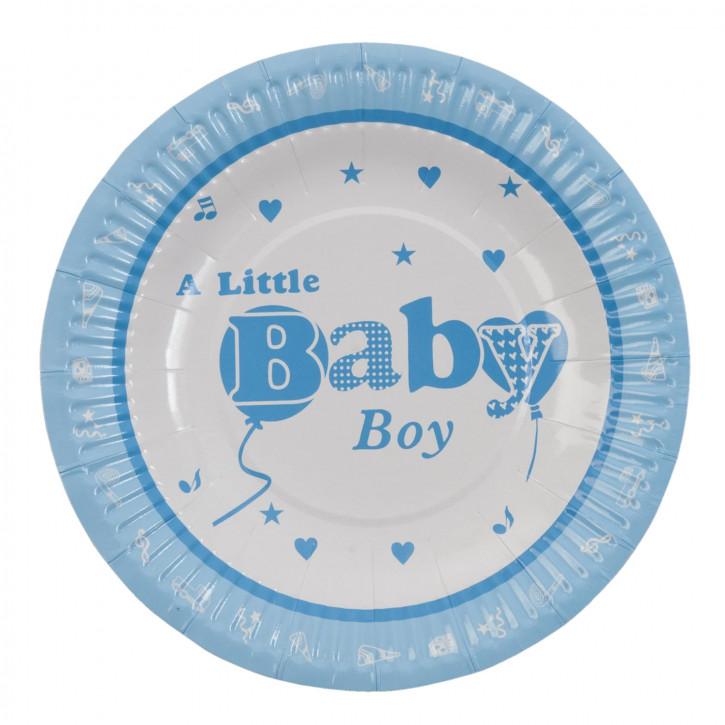 Einwegteller (10 Stück) Baby Boy blau ca. Ø 18 cm