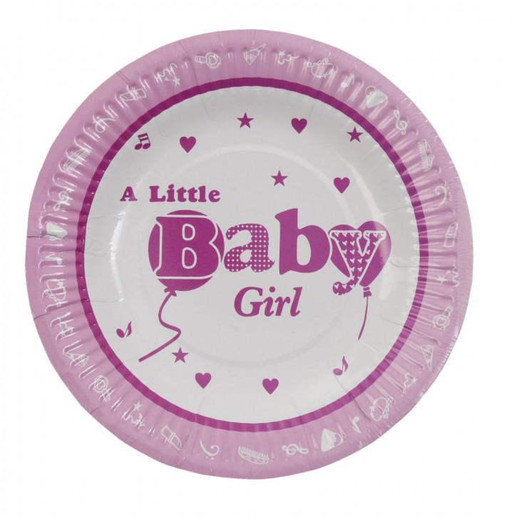 Einwegteller (10 Stück) Baby Girl rosa ca. Ø 18 cm