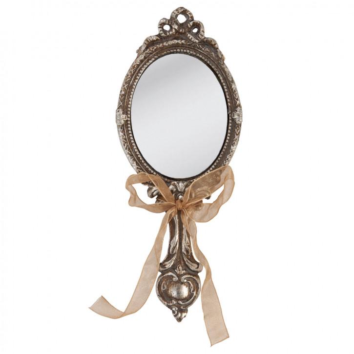 Handspiegel silber farben Spiegel Kosmetikspiegel 19cm
