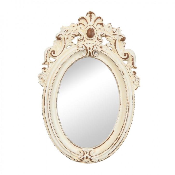 Spiegel Wandspiegel oval creme ca. 14 x 20 cm