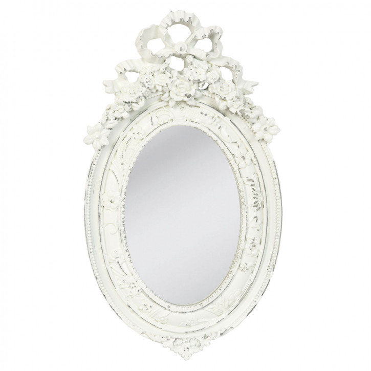 Wandspiegel oval weiß ca. 27 x 15 cm
