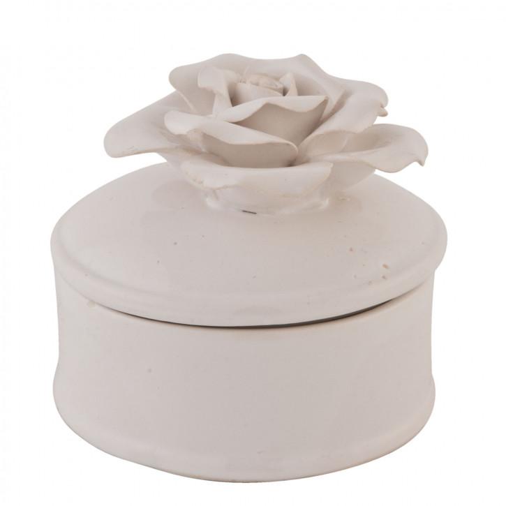 Vorratsdose Topf mit Deckel Rose weiß ca. 8 x 6 cm