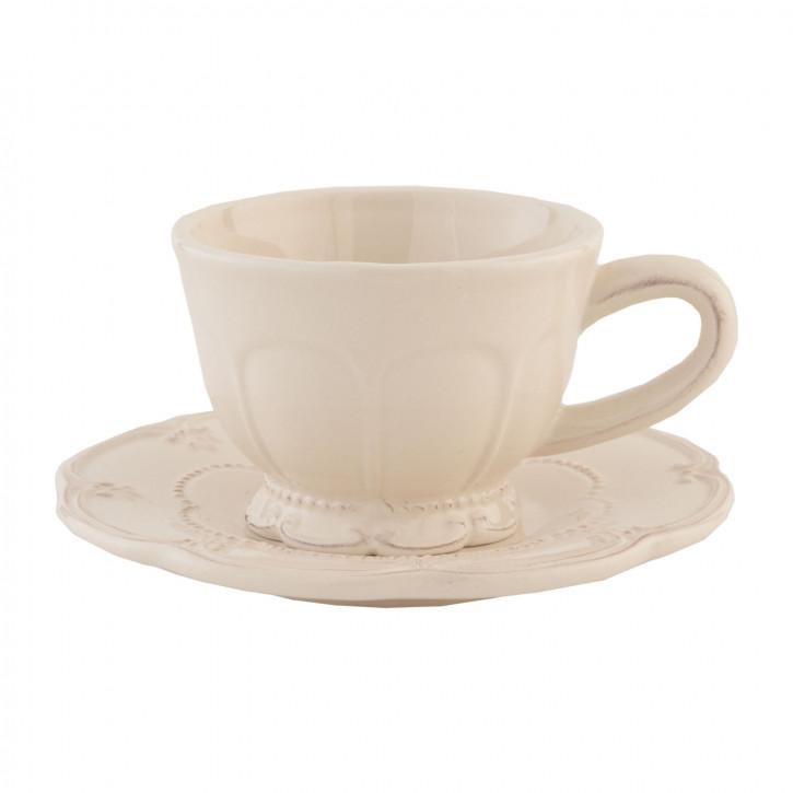 Kaffeetasse Tasse mit Untertasse natürlich ca. Ø 15 x 7 cm