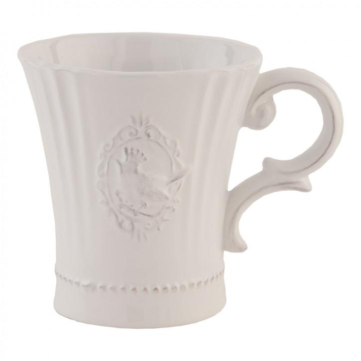 Weiße Tasse Cup ~ BIRD ~ ca. 10 x 13 x 11 cm