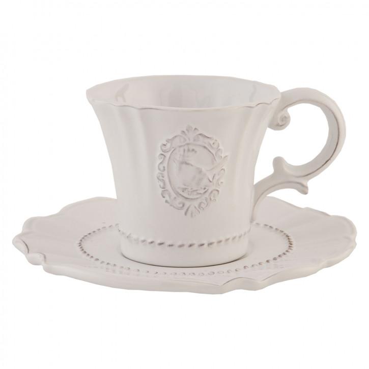 Kaffeetasse Tasse mit Untertasse weiß ca. Ø 15 x 7 cm
