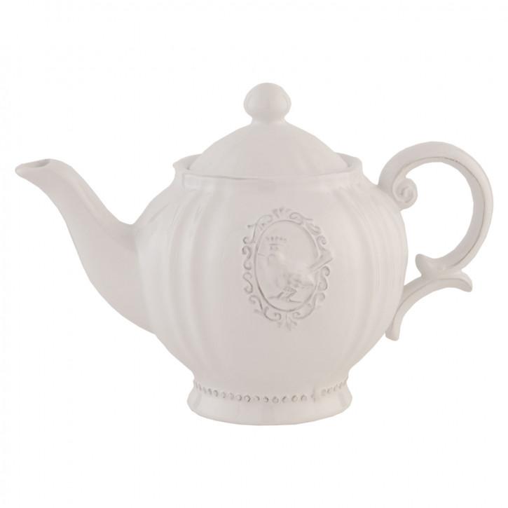 Weiße Teekanne Kanne Keramik ~ Bird ~ ca. 14 x 23 x 16 cm