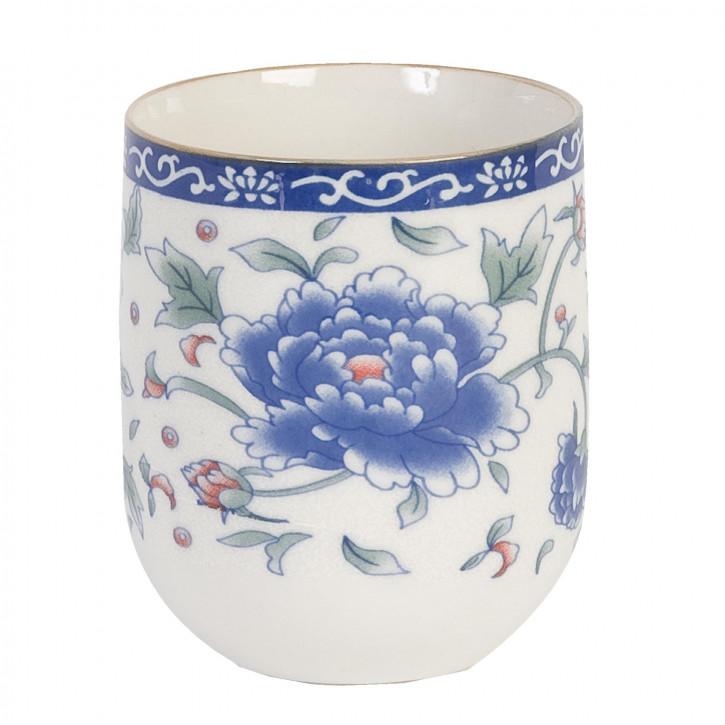 Becher große blaue Blume ca. Ø 6,5 x 8 cm