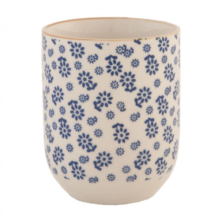 Becher Tasse ohne Henkel Blumen blau ca. Ø 6 x 8 cm