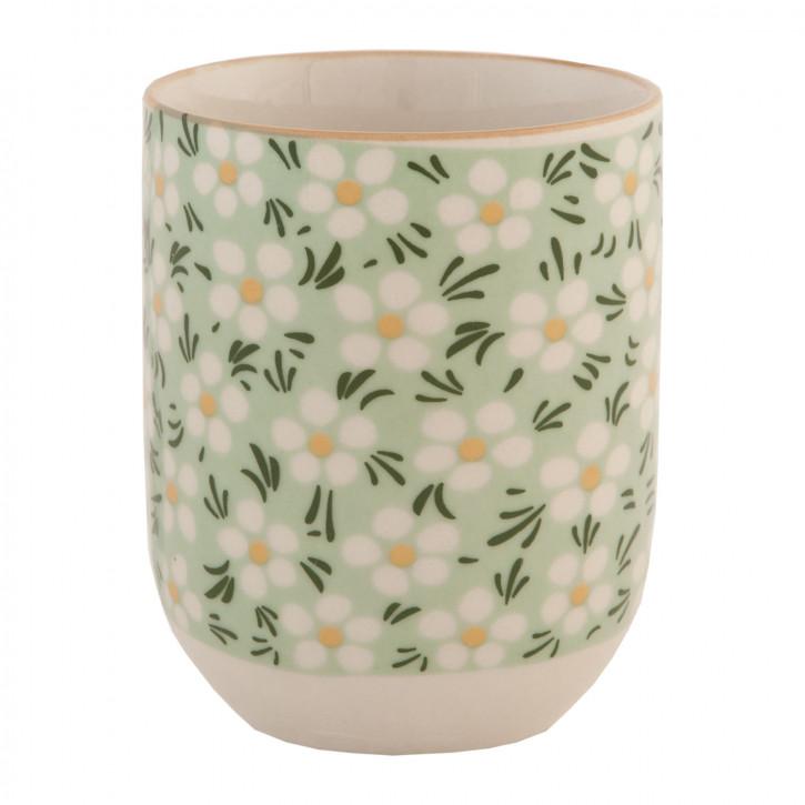 Becher Tasse ohne Henkel Blumen grün ca. Ø 6 x 8 cm