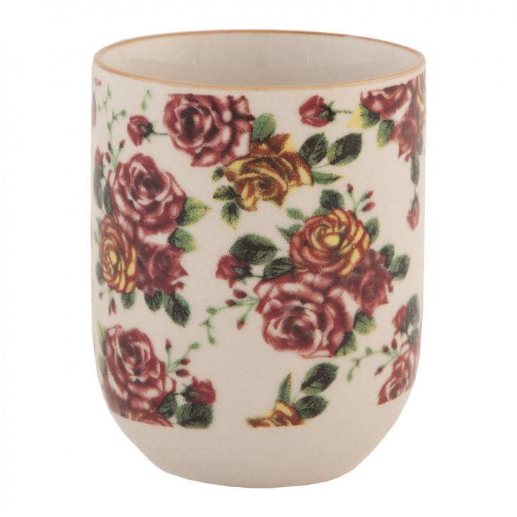 Becher Tasse ohne Henkel Blumen rosa ca. Ø 6 x 8 cm