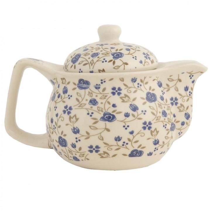 Teekanne mit blauen Blümchen