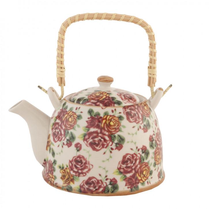 Teekanne Rosen rosa ca. Ø 18 x 14 cm