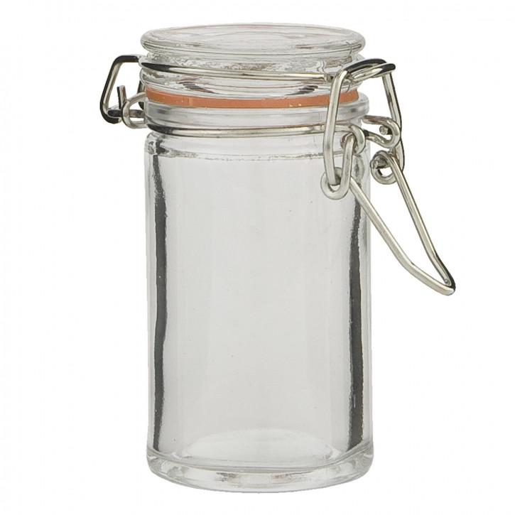 Vorratsglas mit Schnappverschluss transparent ca. Ø 6 x 8 cm