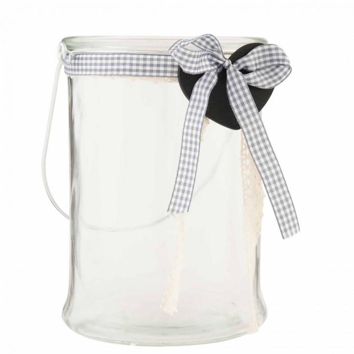 Schönes Teelicht Glas mit Schleife 15*21cm