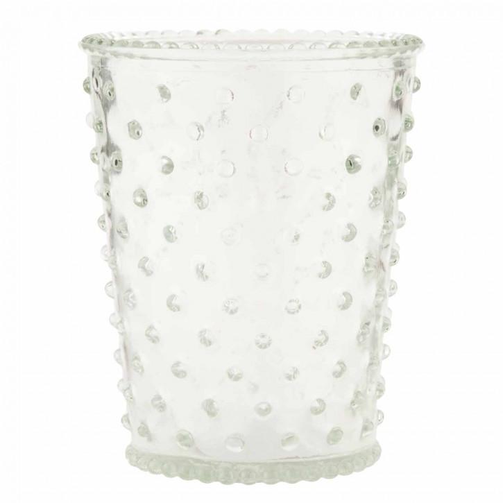 Teelicht Glas gepunktet 10*12cm