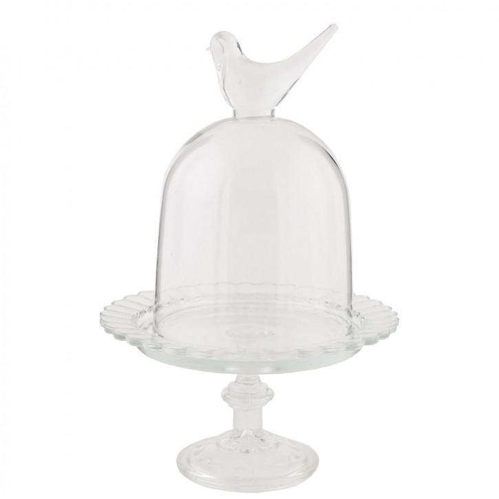 Kuchenglocke Vogel Glas transparent OHNE TELLER ca. Ø 16 x 25 cm