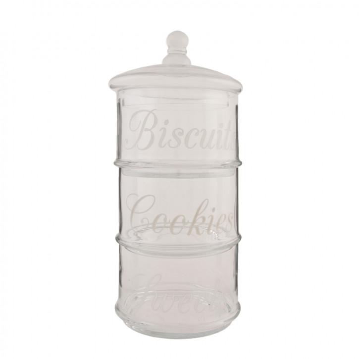 Topf Vorratsglas mit Deckel Biscuits Cookies transparent ca. Ø 16 x 43 cm