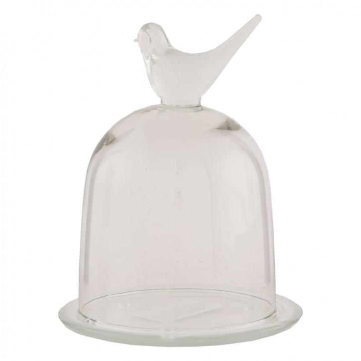 Teller mit Deckel Glocke Vogel transparent ca. Ø 13 x 16 cm