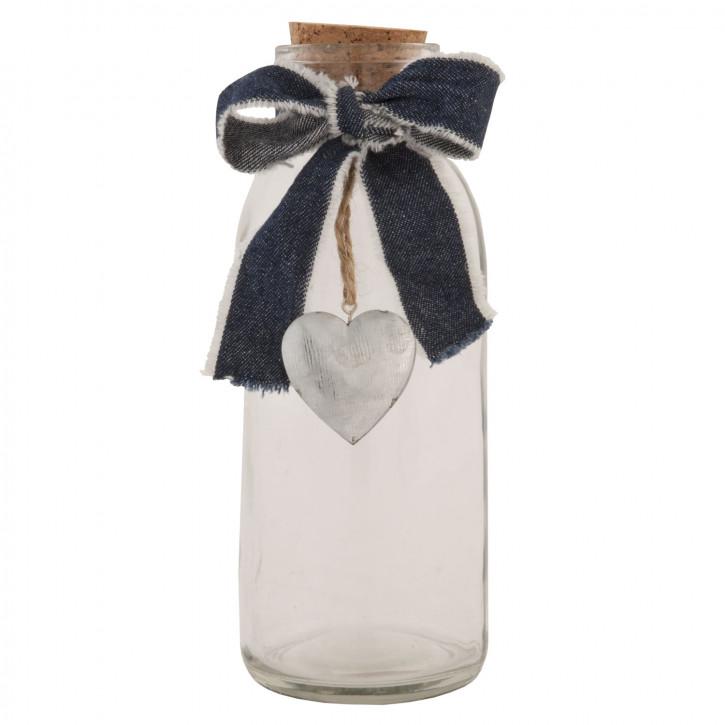 Flasche Glasflasche mit Korken Herz ca. Ø 8 x 20 cm