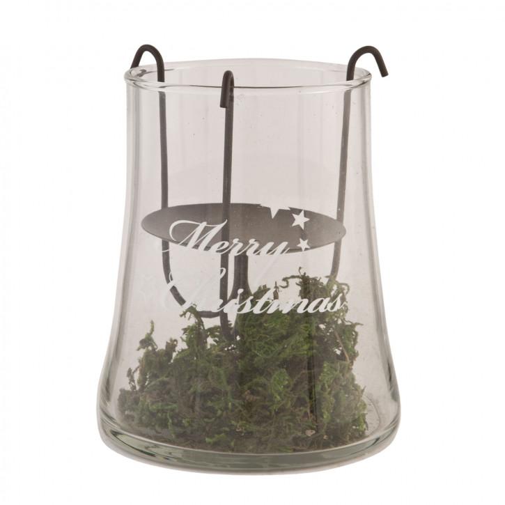 Teelichthalter Windlicht Merry Christmas ca. Ø 11 x 14 cm