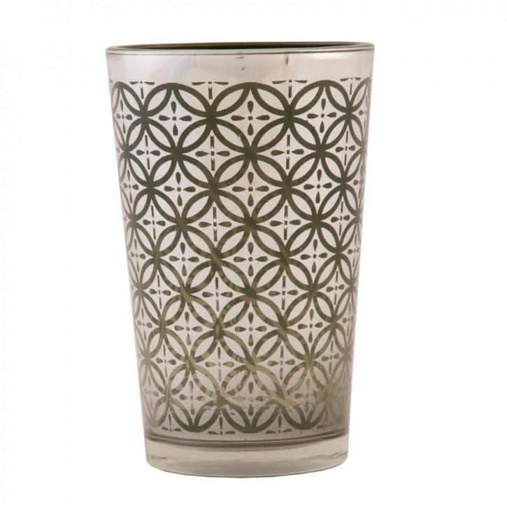 Teelichthalter Windlicht grünlich ca. Ø 7 x 11 cm