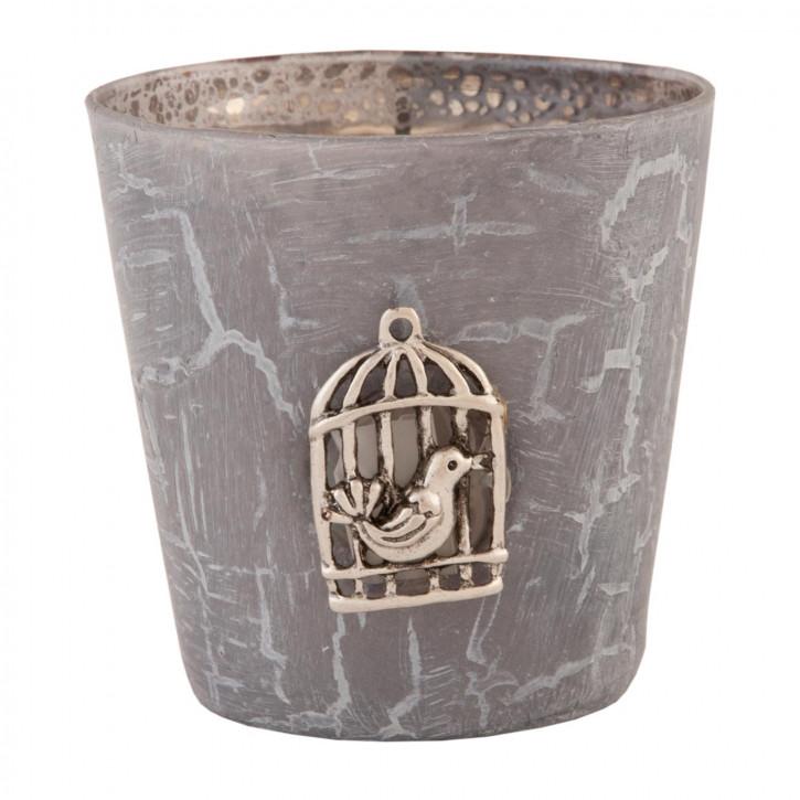 Teelichthalter Windlicht grau Vogelkäfig Vogel ca. Ø 7 x 8 cm