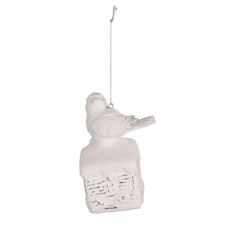 Anhänger Weihnachtskugel Vogel weiß ca. 7 x 6 x 11 cm