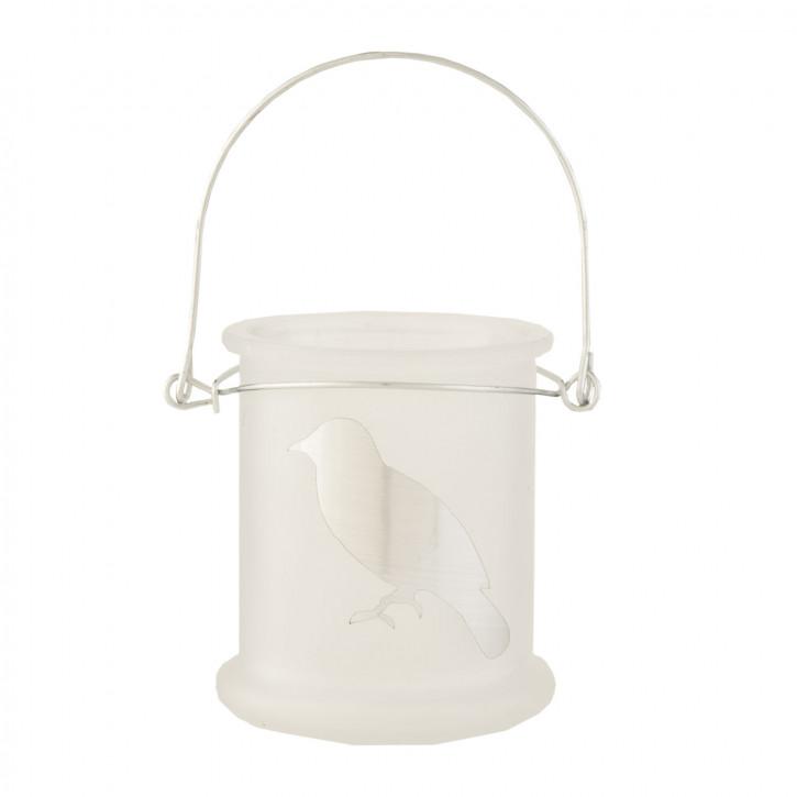 Teelicht Teelichthalter Windlicht Vogel transparent weiß ca. Ø 8 x 10 cm