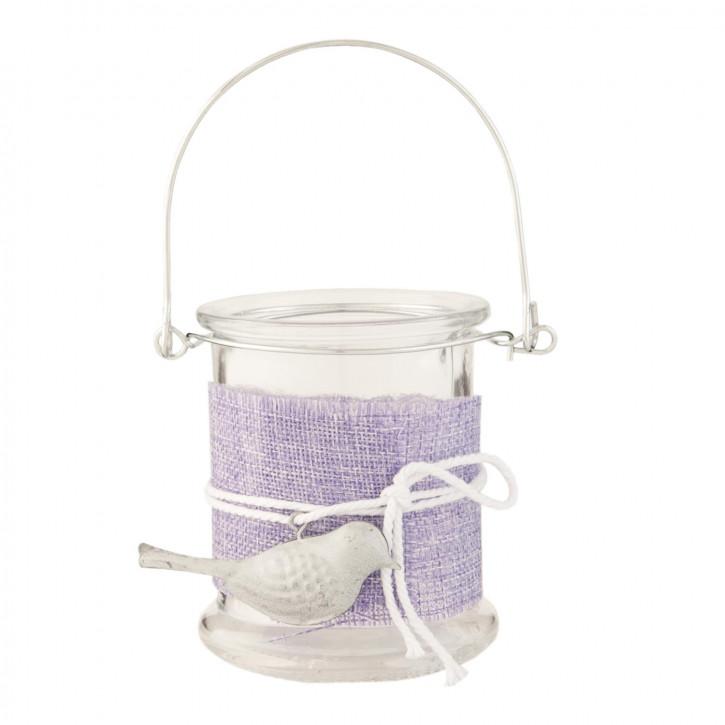 Teelicht Teelichthalter Windlicht mit Henkel Vogel transparent ca. Ø 8 x 10 cm