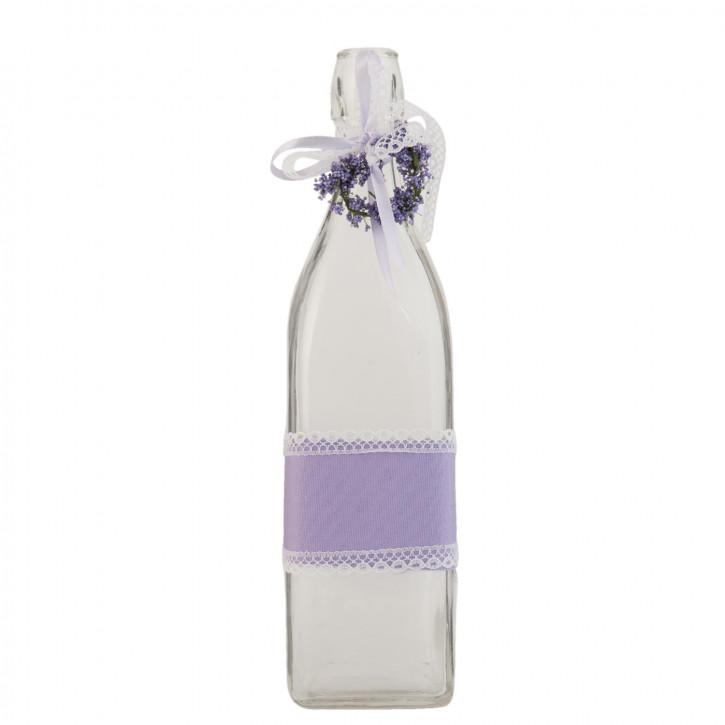 Glasflasche Lavendel transparent ca. 8 x 8 x 31 cm