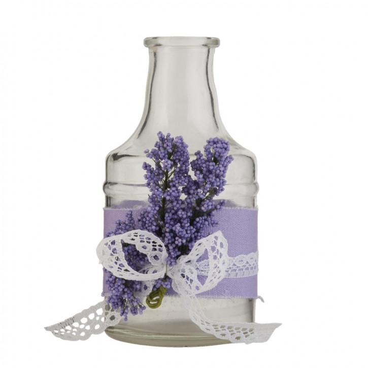 Glasflasche Lavendel transparent ca. Ø 7 x 13 cm