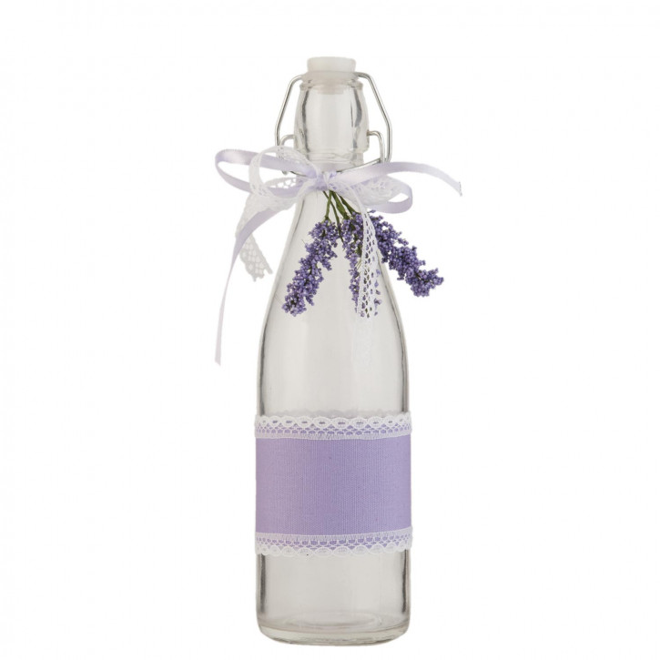 Glasflasche mit Schnappverschluss Lavendel transparent ca. Ø 7 x 26 cm