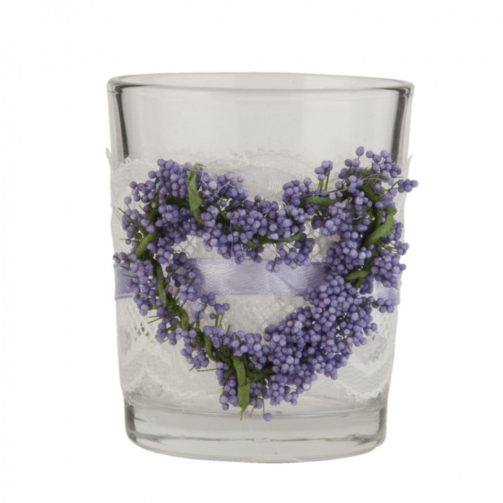 Windlicht Lavendel transparent ca. Ø 6 x 7 cm