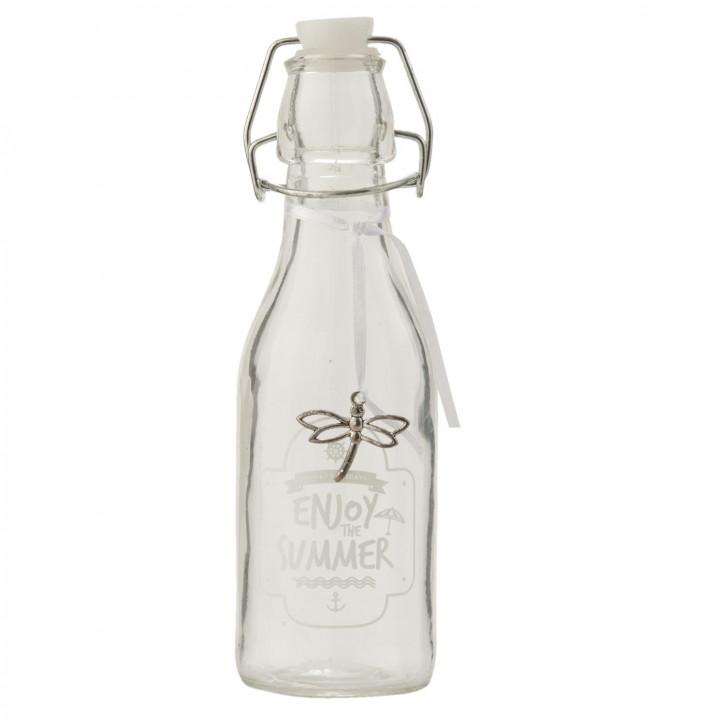 Glasflasche mit Schnappverschluss Enjoy the summer transparent ca. Ø 6 x 20 cm