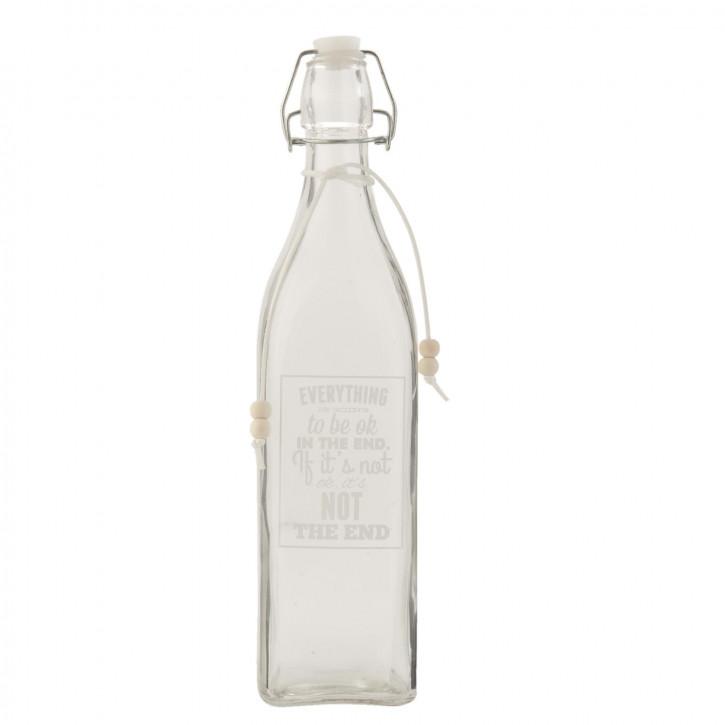 Glasflasche mit Schnappverschluss Everything is going... transparent ca. Ø 8 x 32 cm