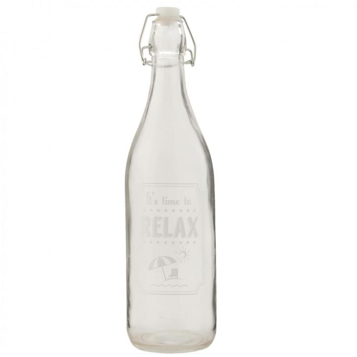 Glasflasche mit Schnappverschluss It´s time to Relax transparent ca. Ø 7 x 26 cm