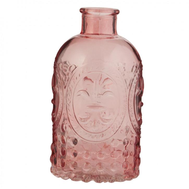 Glasflasche rosa transparent ca. Ø 7 x 13 cm
