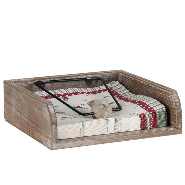 Serviettenhalter Antik Patina Holz und Metall - 19 x 16 x 6 cm
