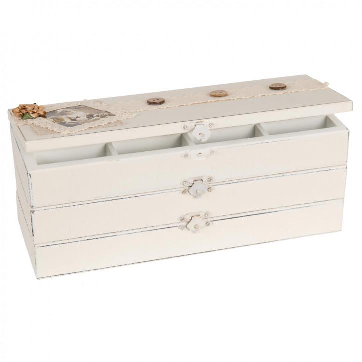 Schmuckkästchen Schmuckkasten Weiß OHNE INHALT ca. 27 x 10 x 10 cm