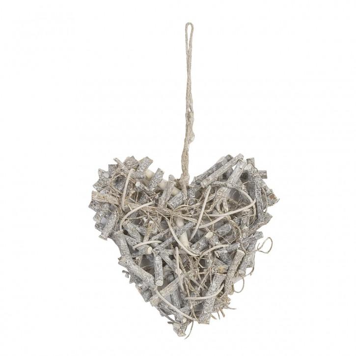Schönes Holz Herz weiß/silber 18cm