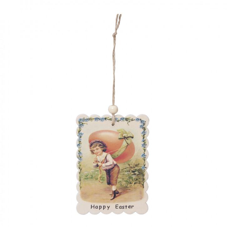 Etikett Schild Anhänger Geschenkanhänger Happy Easter Holz ca. 7 x 20 cm