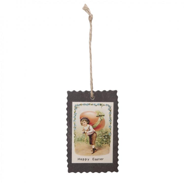 Anhänger Geschenkanhänger Happy Easter Holz ca. 5 x 8 cm