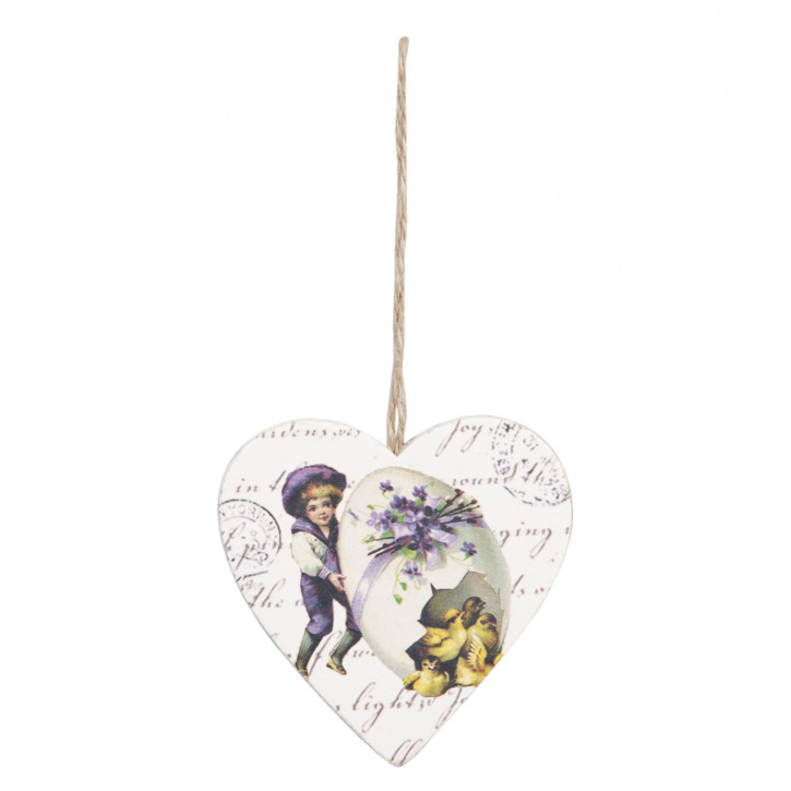 Anhänger Herz Ei Junge Küken Holz ca. 7 x 7 cm