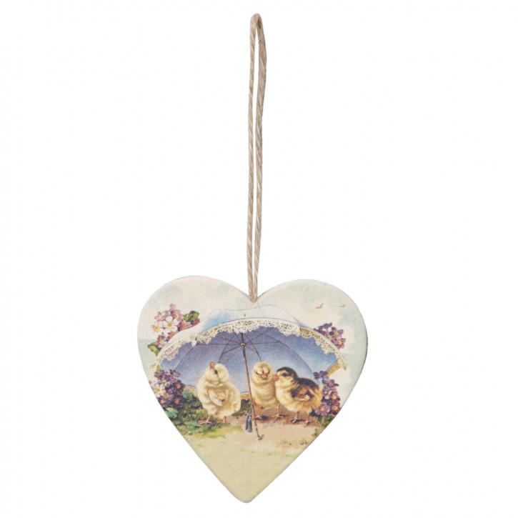 Anhänger Herz Küken Schirm Holz ca. 7 x 7 cm
