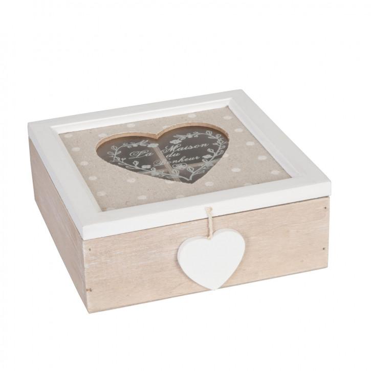 Holz Teedose mit Herzfenster